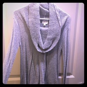 Cowl Neck Long Sleeve Grey Sweater Top,M